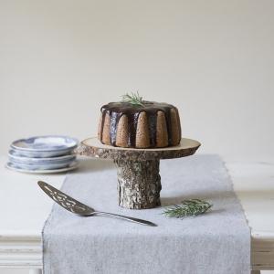 Recipe for a rosemary-almond bundt cake with rosemary-honey ganache