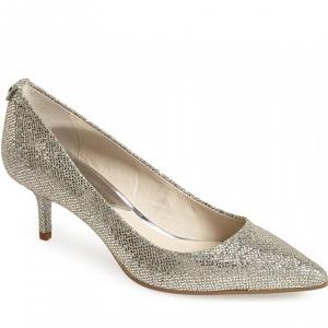 Silvery kitten-heel pump