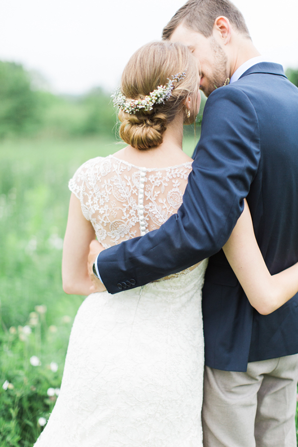 Beautiful wedding portrait from a rustic spring wedding in Wisconsin