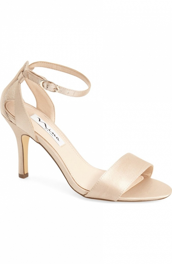 Champagne-colored satin ankle-strap sandal