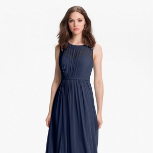Pleated chiffon gown for bridesmaids
