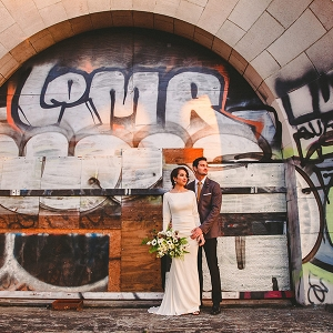 Wedding fashion shoot at an abandoned train station