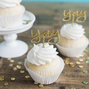 Yay cupcake toppers in glittery gold