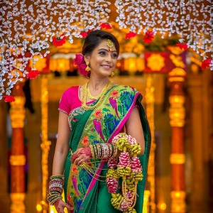 Bride in parrot sari on The Big Fat Indian Wedding