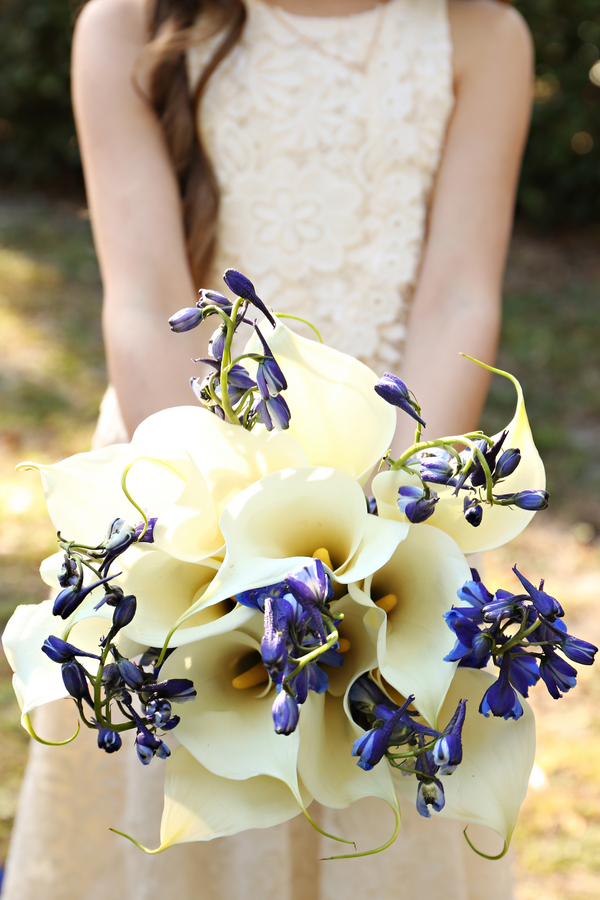 Beautiful Blue and Gold Wedding - lily bouquet
