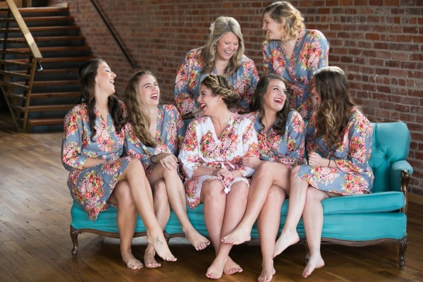 Bridesmaids in Floral Robes | Photo by Chelsey Williams