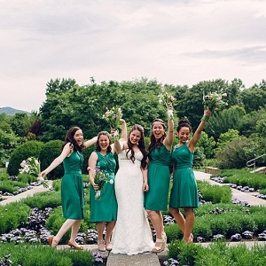 emerald green bridesmaids at NC wedding on The Budget Savvy Bride