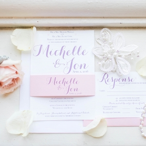 Pink, White and Purple Wedding Invitation Suite