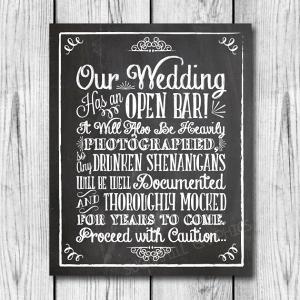 Funny Wedding Bar Sign