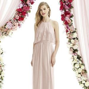Blush Full Length Fall Bridesmaid Dress