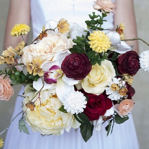 Yellow, Maroon and White Silk Bridal Bouquet
