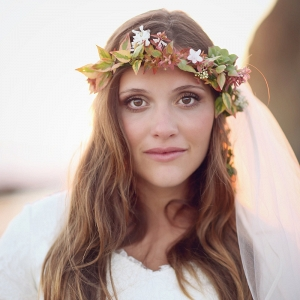Beach Bride with Flower Crown