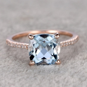 Cushion Natural Aquamarine Rose Gold Engagement Ring