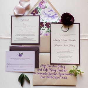 Purple and Plum Winter Wedding Invitation