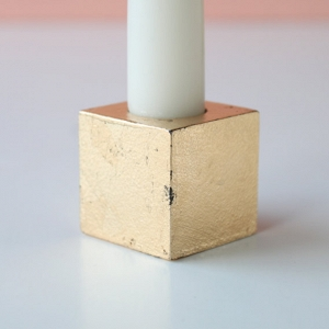 Modern Geometric Taper Candles in Gold | Set of 3