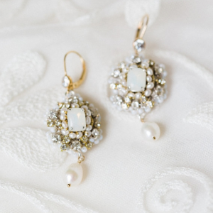 White Opal Bridal Earrings with Swarovski Crystals