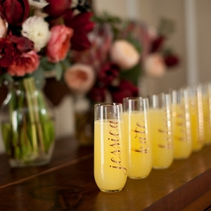 Personalized bridesmaid toasting glasses