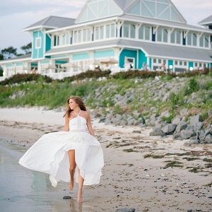 Newlywed bride on a beach