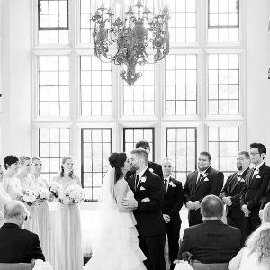 Classic museum wedding with chandelier