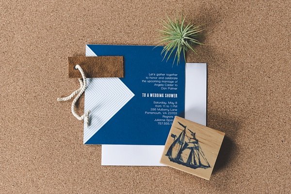 Modern nautical bridal shower invitation