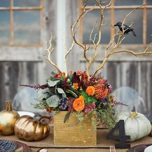 Colorful Halloween Fall Wedding Centerpiece