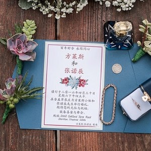 Modern wedding invitation in Chinese