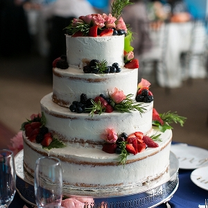 Semi naked cake with berries