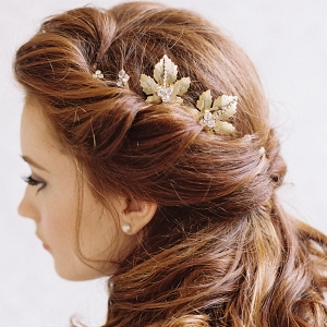 Maple Leaf Gold Bridal Hair Clips