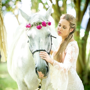 Bride and horse with flower crown
