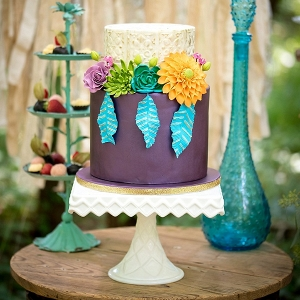 Colorful boho hippie wedding cake