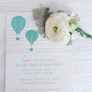 Hot air balloon wedding invitation