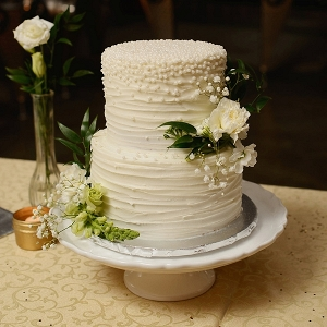 Textured white pearl wedding cake