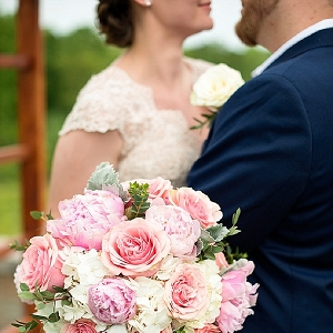 Blush colored wedding bouquet