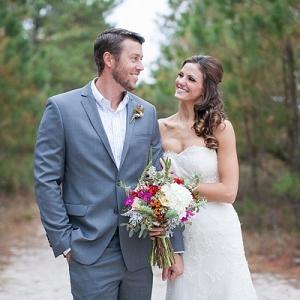 Coastal beach bride and groom