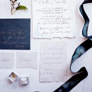 Modern calligraphy elopement announcement