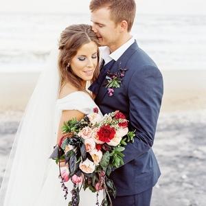 Beach bride and groom elopement
