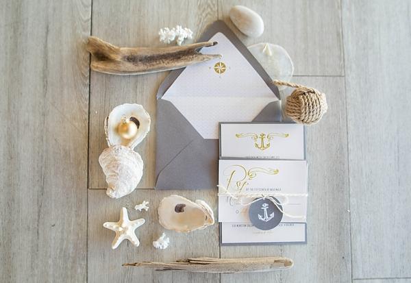 Nautical Christmas wedding stationery