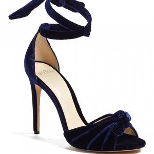 Navy Blue Velvet Bridal Shoes
