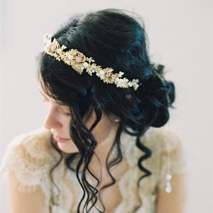 Oak Leaf Inspired Gold Bridal Hairpiece