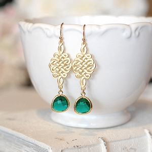 Green and gold bridesmaid earrings