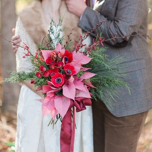 Red and green Christmas wedding bouquet