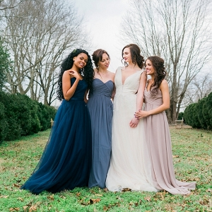 Dark blue and blush bridesmaid dresses