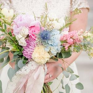Pastel beach bridal bouquet