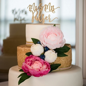 gold and pink wedding cake