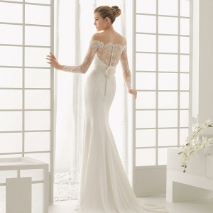 Rosa Clara Dado Off the Shoulder Wedding Dress