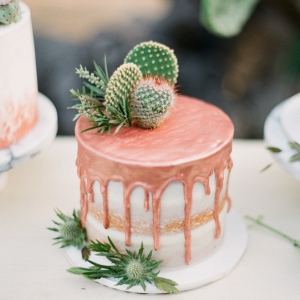 Dripping rose gold copper cake