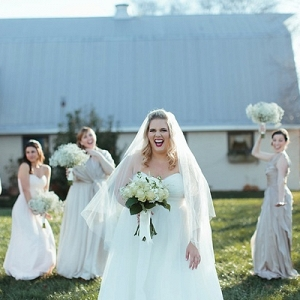 Rustic bride with her bridesmaids