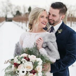Snowy bride and groom