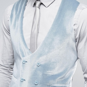 Pastel Blue Velvet Double Breasted Vest