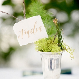 Calligraphy place card on moss